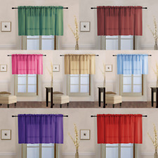 "1PC SHEER STRAIGHT VALANCE WINDOW CURTAIN TOPPER SOLID COLORS 55"" W X 18"" L"