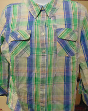Croft & Barrow Women's Blue Checked  Large Button Down Shirt