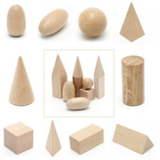 10Pcs Wooden Geometric Solids Shapes Learning Resources Cognitive Toys+Bag New