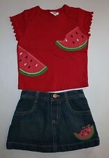 New Gymboree 2 Piece Outfit Applique Top & Skirt Set 12-18m Watermelon Summer