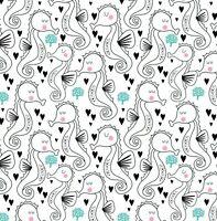 Seahorse Fabric, Nautical Fabric, Cotton Fabric, Beach shells fabric Baby Fabric