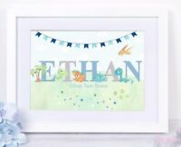 Personalised Baby Dinosaur Print Christening Gift Nursery Wall Art Decor Poster