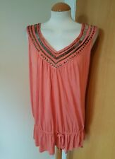 ladies SAVOIR peach coral beaded vest top size 22 new