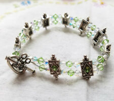 """Estate Light Green Clear AB Faceted Rhinestone Hand Made Bracelet 7 Inches 7"""""""