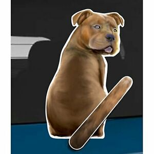 Pit Bull Dog Rear Car Window Sticker + Wagging Tail To Fit On Wiper Arm