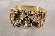 3-Stone Diamond Nugget Ring 10K Yellow Gold Size 7