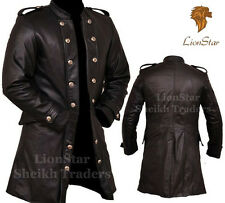 Lionstar Men 3 Quarter Gothic Steampunk Vintage Military Fancy Leather Coat