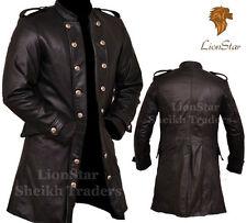 Lionstar Uomo 3 Quarter Gotico Steampunk Vintage Cappotto di pelle fantasia militare