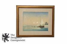 Vintage E. Lov Signed Watercolor Venice Italy Wall Art Boats Gondolas Seascape