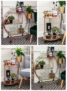 Rose Gold Round Drinks Trolley with 2 or 3 Tier 30's Art Deco Vintage Home Ba...