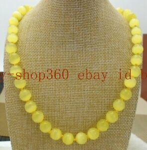 """Fashion 12mm Yellow Opal Cat's Eye Round Gemstone Beads Necklace 20"""" AAA"""