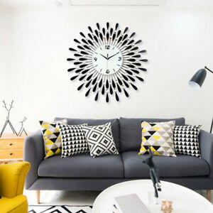 60cm Wall Clock Living Room Bedroom Large Clock Diamond Metal Home Decoration