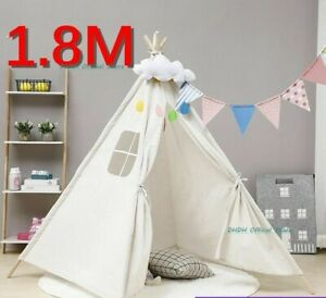 Kids Play Tent Indoor Children Large Playhouse Folding Canvas Teepee Wigwam