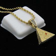 """Gold Plated Iced Egyptian Pyramid Hip-Hop Pendant 24"""" Rope Chain Necklace D584"""