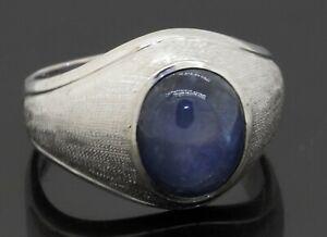 Designer hallmarked vintage 18K WG 5.50CTW Blue Star sapphire men's ring