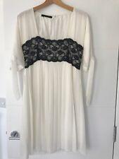 Stella McCartney réplica, Blanco Vestido plisado con encaje negro, señoras, tamaño 10