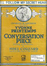 """Yvonne Printemps """"CONVERSATION PIECE"""" Noel Coward 1934 Paris Sheet Music"""