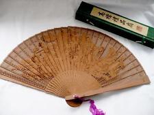 Vintage Chinese, Boxed Wooden Hand Fan - Brise' Fan - Pierced Oriental Fan