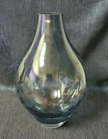 Krosno Clear Blue Glass Vase, Etched Bubble Design