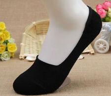 5 Pairs Black Women Bamboo Fiber Invisible Nonslip Loafer Low Cut  Boat Socks