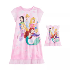 Disney Princess Girls Dorm Nightgown & Matching Doll Gown Size 4 Retail $36