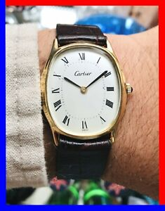 Vintage gents Cartier 18k Gold electroplated Ellipse 17j Watch 1970s Nice! 30mm