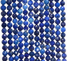 4MM LAPIS LAZULI GEMSTONE GRADE AA MICRO FACETED ROUND LOOSE BEADS 15""