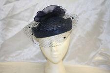 Women's Midnight Blue Asymmetrical Pillbox Dress Hat With Veil