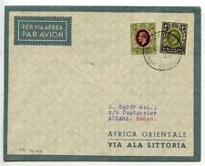 British Somaliland 1936 Bayer flight cover to Atbara