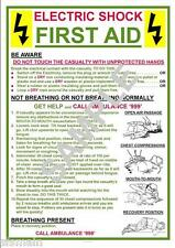 HEALTH & SAFETY ELECTRIC SHOCK FIRST AID A4 LAMINATED (250 MICRON) POSTER