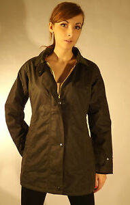 New Ladies Fitted Jacket Olive Green British Wax Cotton Country Walking Outdoor