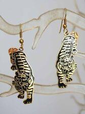 Elegant Black Genuine Cloisonne Enamel Tiger Pierced  Earrings 1970s vintage