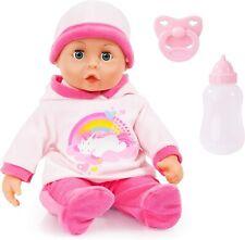 Babypuppe First Words mit Schlafaugen, 24 Babylaute, 38 cm, rosa, Einhorn