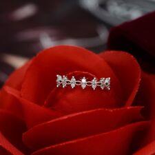 Glamour Women Stainless Steel Titanium Crystal Rhinestone Wedding Band Ring Gift