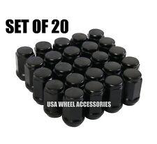 20pc Black Bulge Acorn Lug Nuts 1/2-20 Thread