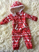 Carters Pajamas Sleeper 6 Mo Red Hearts Velour Christmas Xmas Holiday Cozy