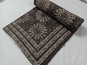 Indian Kantha Handmade Floral Print Quilt Blanket Bedding Bedcover Kantha