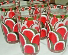 Set of 4 Cora Vintage Colorful Watermelon Graphics Mixed Drink/Ice Tea Glasses