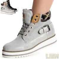 Damen Stiefeletten Boots Derby Sneaker High-Top Hochschaft