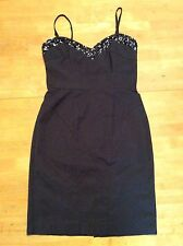 New Spotlight by Warehouse LBD Black Jeweled Strapless removable Strap Dress 10