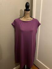 EILEEN FISHER Women's Purple Bateau Neck Knee Length Dress Size L Large NWT