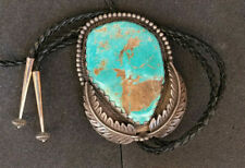 Silver Bolo Tie circa 1957-1967 Huge Vintage Native American Turquoise Sterling