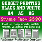 Black & White A4 A5 A6 Cheap Budget Printing Flyer/Mailing/Leaflet Drop 80gsm