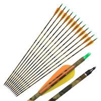 "Hunting 31"" Camo Carbon Arrows Hunter Nocks Archery Compound Bow Arrow 500 Spine"