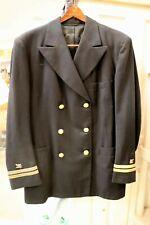 Vintage WWII US NAVY Wool Officers Dress Coat Uniform Jacket Shoulder Boards