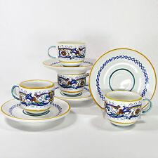 Deruta RICCO CAPPUCCINO CUP SAUCER 8Pc Set 3oz Sur La Table Italian Pottery