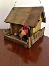Bird Feeder Vintage Hand-crafted Wood Unused Original Owner as-is piece missing