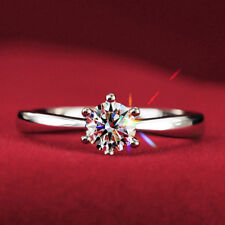 0.5Ct Round Cut VVS1 D Diamond Solitaire Engagement Ring 14K White Gold Over