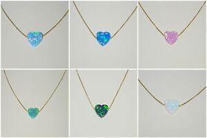 OPAL HEART Gold Filled NECKLACE Light - Dark Blue, Light - Dark Green White Pink