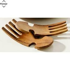 Premier Housewares Monkey Pod Salad Servers Hand Shaped Kitchen Home New
